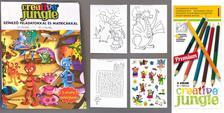 ÜGYV-SZERV Kft - CREATIVE JUNGLE gyermek kifestő feladványokkal és MATRICA melléklettel + 12 db-os dupla (24 szín) színes ceruzával. Színezz és oldj meg furfangos fela