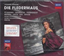 STRAUSS... - DIE FLEDERMAUS 2CD TE KANAWA, GRUBEROVA, FASSBAENDER, PREVIN