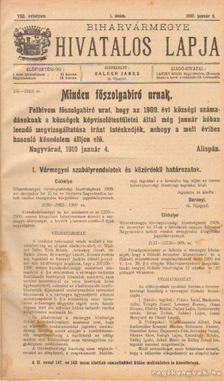BALOGH JÁNOS - Biharvármegye hivatalos lapja 1910. (teljes) [antikvár]