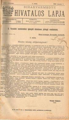 BALOGH JÁNOS - Biharvármegye hivatalos lapja 1915. (teljes) [antikvár]