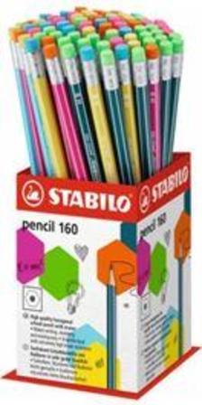 2160/72-1HB - STABILO pencil 2160 grafit ceruza radír véggel HB, 72 darabos vegyesen töltött mini kínáló