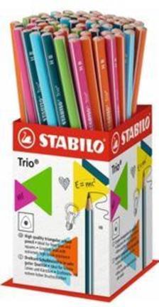 369/72-1HB - STABILO Trio vékony háromszögletű grafitceruza HB, 72 darabos vegyesen töltött mini kínáló