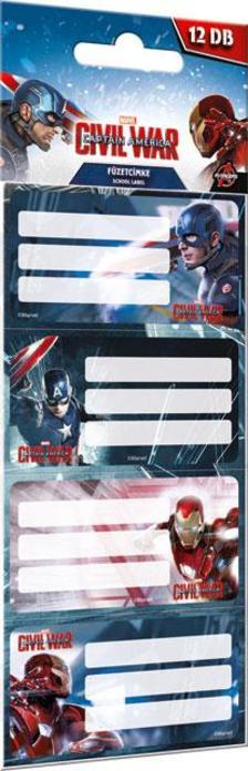 7350 - Füzetcímke 12 db-os Captain America Mix 16450703