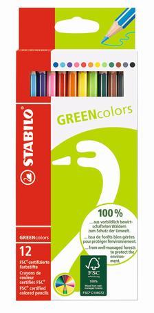 6019/12-2 - STABILO FSC GreenColors, 12 darabos környezetbarát színesceruza