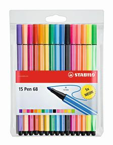 6815-2 - STABILO Pen 68 rostiron filctoll 15 db-os készlet 10+5 NEON szín