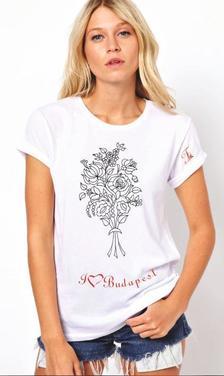- Női rövid ujjú kreatív póló - S-es méret - Színezd magad