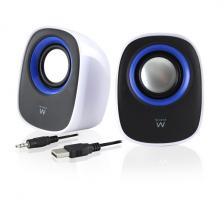 - Ewent EW3513 sztereó asztali hangsugárzó USB fekete/fehér