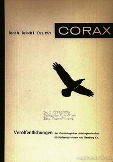 CORAX Veröffentlichungen der Ornitologischen Arbeitgemeinschaft für Schleswig-Holstein und Hamburg 4. 1. 1971 (CORAX Hamburg és Schleswig-Holstein Ornitológiai Munkacsoport közlönye 4. 1. 1971) [antikvár]