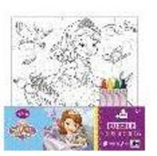 8332101 - Szófia hercegnő puzzle színező 5*4 részes kiszínezhető puzzle(20*23cm) 4 db színes zsírkrétával