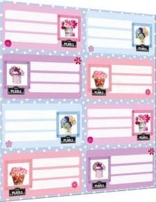 5587 - Füzetcímke íves Geo Flora Pink 15251002