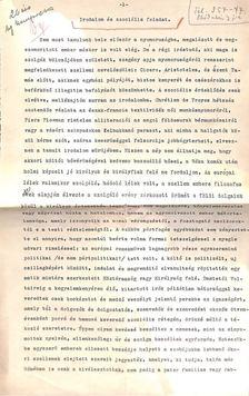 Cs. Szabó László - Irodalom és szociális feladat című írásának eredeti kézzel javított, aláírt gépirata [antikvár]