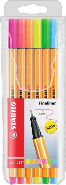 88/6-1 - STABILO point 88 tűfilc 0.4mm neon 6 darabos készlet