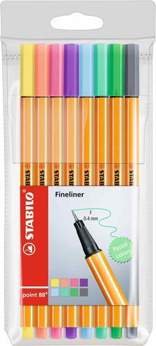 88/8-01 - STABILO point 88 tűfilc 0.4mm PASTEL színek 8 darabos készlet