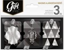 4976 - Ajándékkísérő masnis aranyozott 3db fekete ma10
