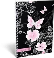 13083 - Füzet spirál A/5 kockás Cornell 36 Pink Butterfly 17374636